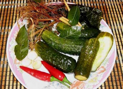 Spicy pickled cucumbers with dill