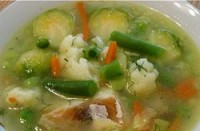 Vegetable clear soup with fish