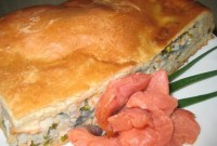 Pie with lean red fish