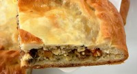 Pie with mushrooms and hake