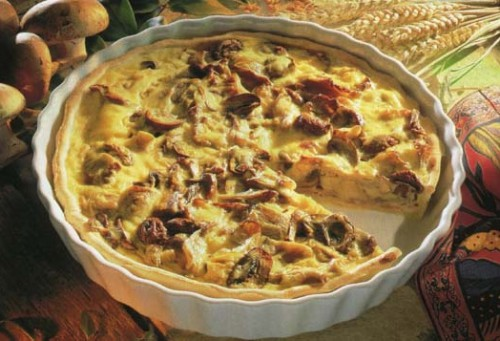 Pie with mushrooms in Ukrainian in a microwave oven
