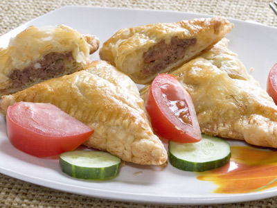 Pies with meat and cheese