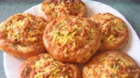 Cakes with ham, egg and onion (open)