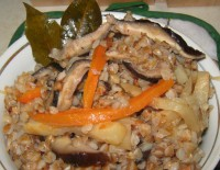 Buckwheat pilaf with mushrooms and celery
