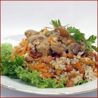 Pilaf with meat rabbit