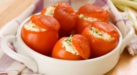 Tomatoes stuffed with cottage cheese