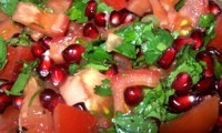 Vegetable salad with pomegranate and tomatoes