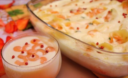 picture - Shells of shrimp with cheese sauce