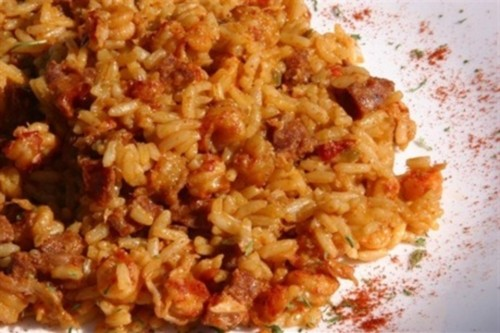 Rice with beef and sausage Jambalaya