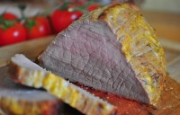 Roast beef with mustard crust