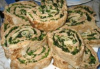 Roll from lavash with mushrooms