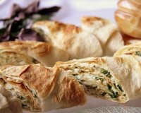 Rolls of bread with cheese and herbs
