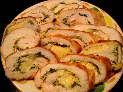 Chicken roll with cheese and herbs