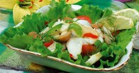 Fish salad with green peas