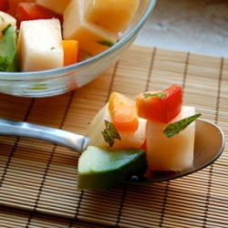 Salad with melon and avocado