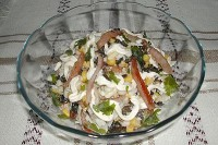 Mushroom salad with celery and bell peppers