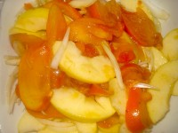 Salad with persimmons and apples