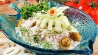 Salad of canned fish and rice
