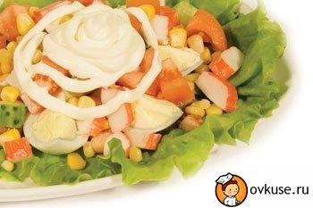 Salad with crab meat