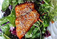 Salmon salad with orange sauce