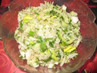 Macaroni salad, beans and walnuts
