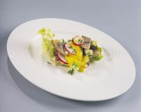 Salad of marinated Norwegian herring and pickles with mustard sauce