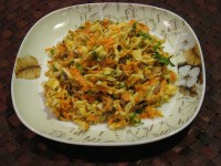 Salad of grilled meat with mustard dressing
