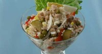 Salad of cod liver with rice (2)