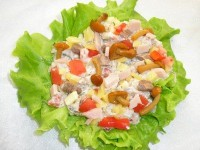 Salad of fish and crayfish