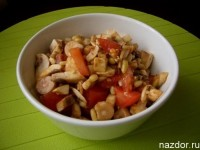 Mushroom Salad with oranges and sweet pepper
