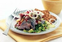 Salad with mushrooms in wine sauce