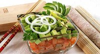 Salad of raw vegetables and fish