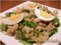 Oyster salad with carrots and eggs