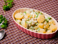 Potato salad with olives and celery
