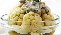 Potato salad with sauce of herring