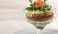 Salad cocktail with pink salmon
