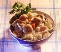 French salad with meat