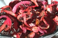 The vegetable salad with mushrooms and roasted beets