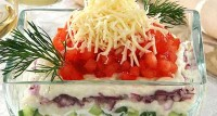 Fish salad with cheese sauce