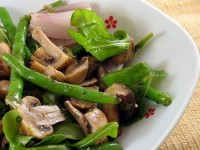 Salad with mushrooms, eggs and asparagus