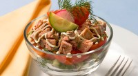 Salad with smoked fish and dill