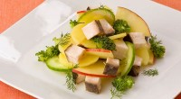 Salad with sturgeon and vegetables