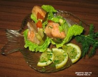 Salad with smoked fish with mayonnaise
