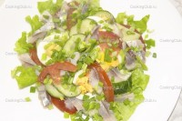 Salad with pickles and herring