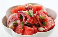 Salad with feta cheese and watermelon
