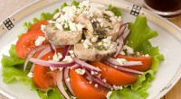 Salad with mackerel and tomatoes
