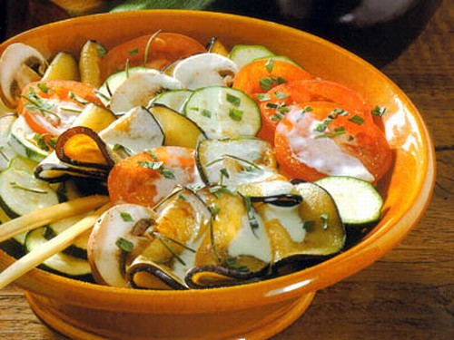 Salad of eggplant with vegetables recipes