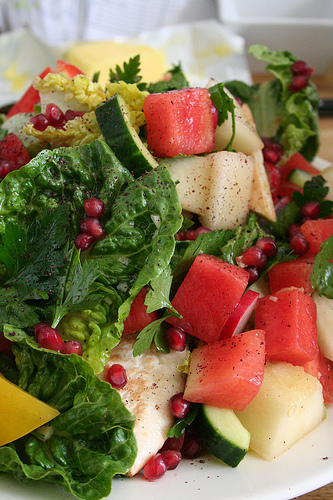 The most beautiful salad - greens, berries and vegetables