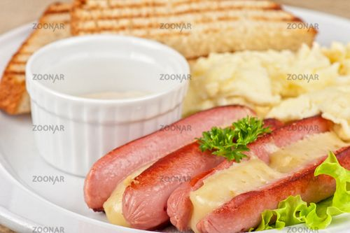 Sausages with cheese
