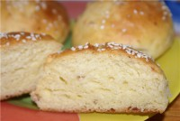 Buns with sausage cheese and sesame seeds